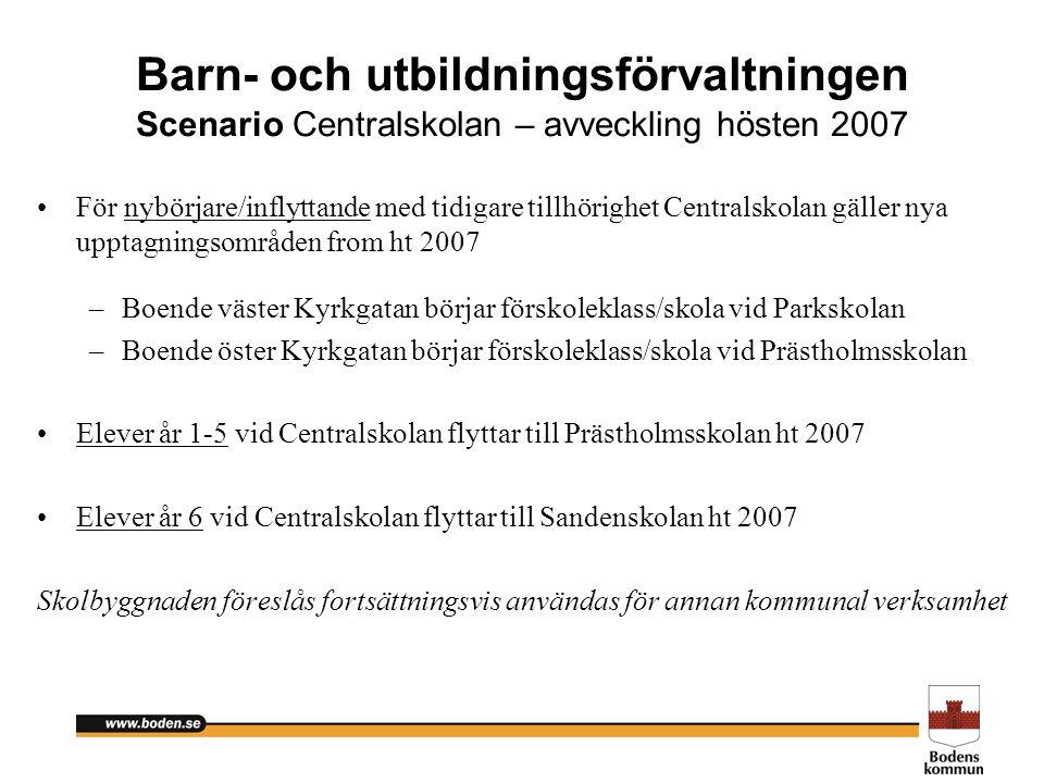 Barn- och utbildningsförvaltningen Scenario Centralskolan – avveckling hösten 2007