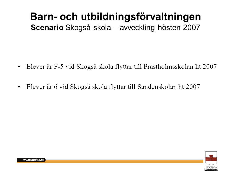 Barn- och utbildningsförvaltningen Scenario Skogså skola – avveckling hösten 2007