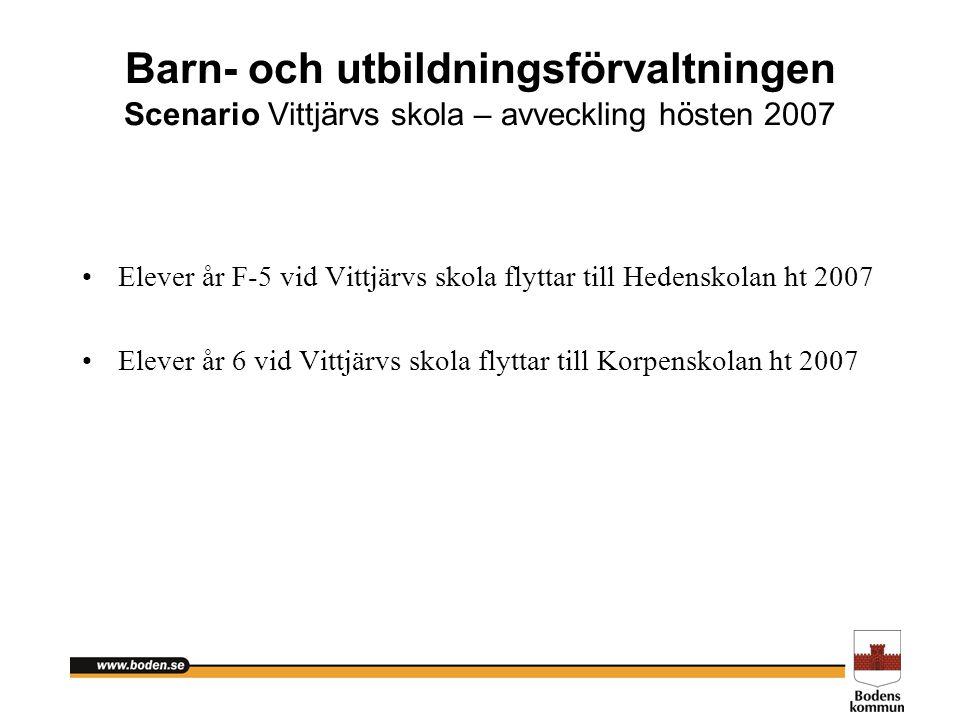 Barn- och utbildningsförvaltningen Scenario Vittjärvs skola – avveckling hösten 2007
