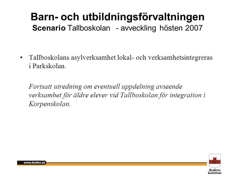 Barn- och utbildningsförvaltningen Scenario Tallboskolan - avveckling hösten 2007