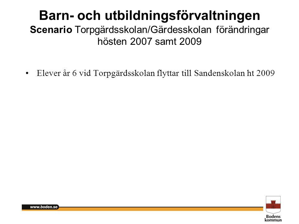 Barn- och utbildningsförvaltningen Scenario Torpgärdsskolan/Gärdesskolan förändringar hösten 2007 samt 2009