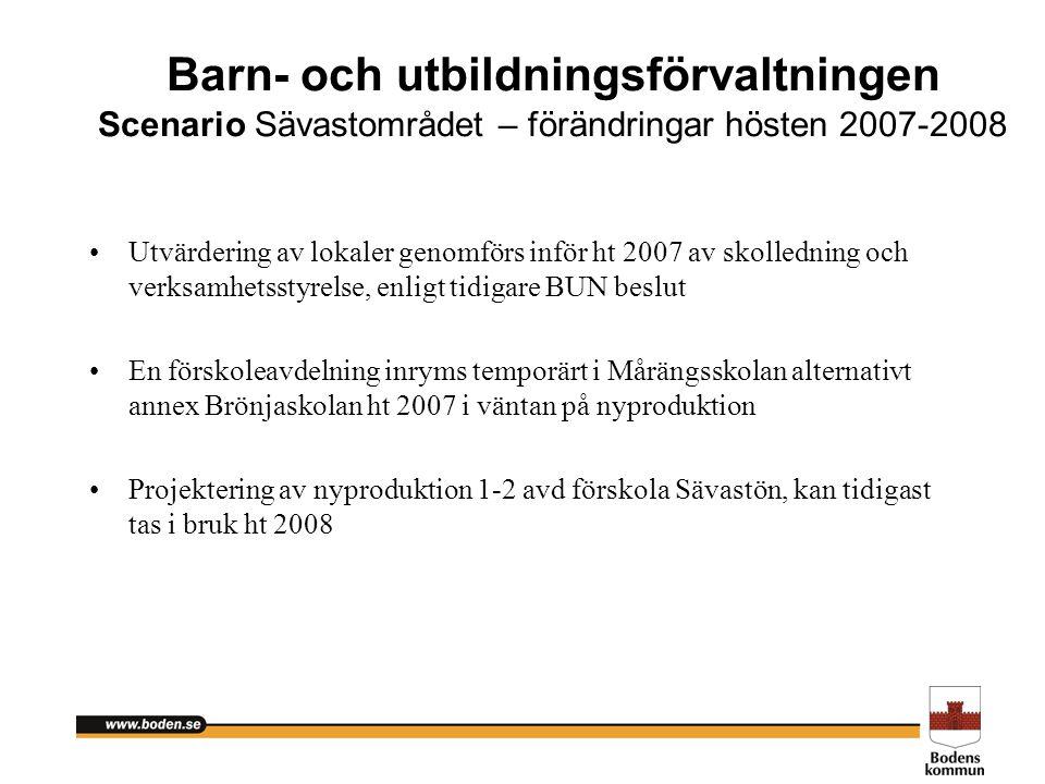 Barn- och utbildningsförvaltningen Scenario Sävastområdet – förändringar hösten 2007-2008