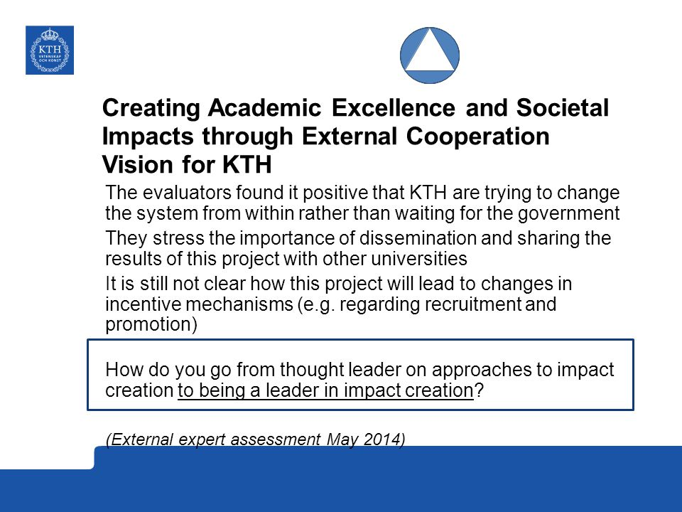 Creating Academic Excellence and Societal Impacts through External Cooperation Vision for KTH