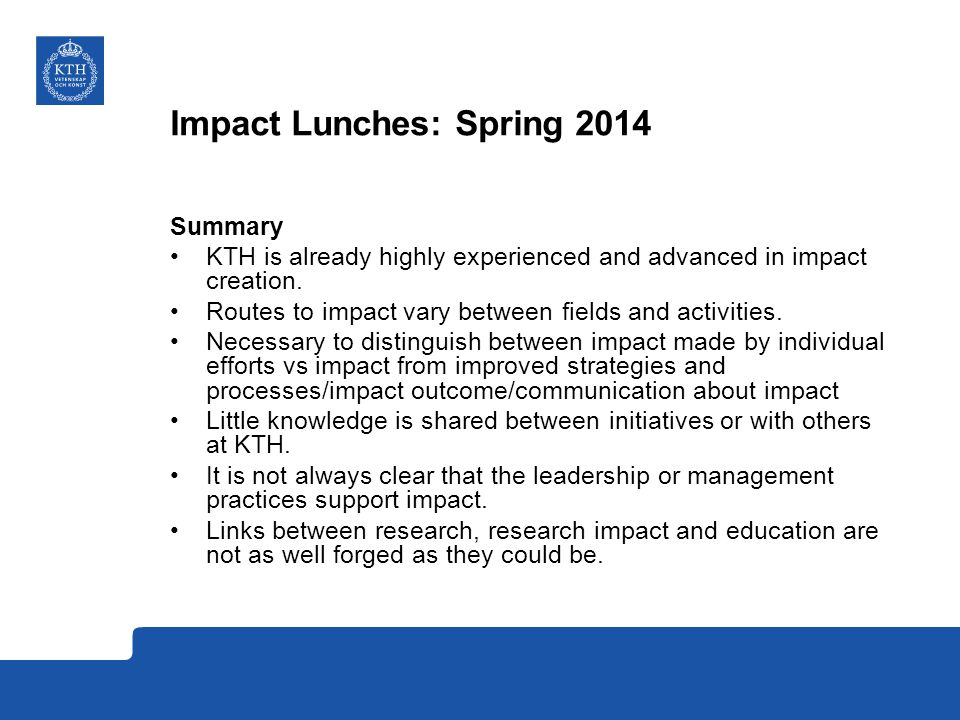 Impact Lunches: Spring 2014