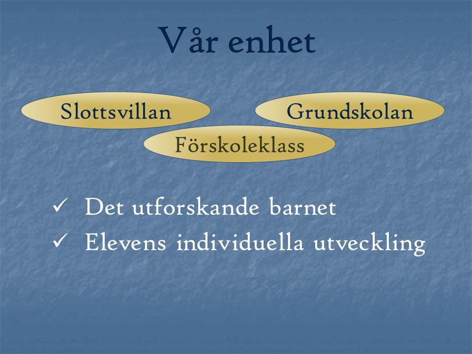 Vår enhet Det utforskande barnet Elevens individuella utveckling