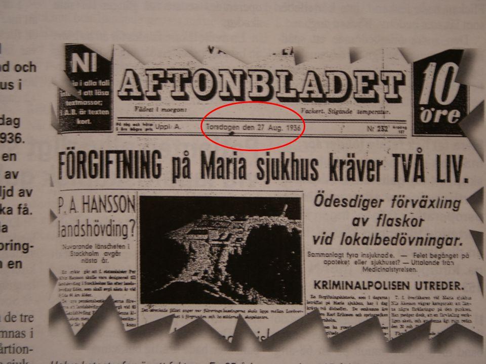 Maria Sjukhus i Stockholm den 20 augusti 1936