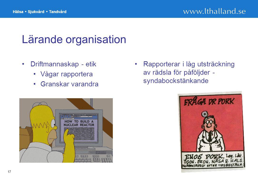 Lärande organisation Driftmannaskap - etik Vågar rapportera