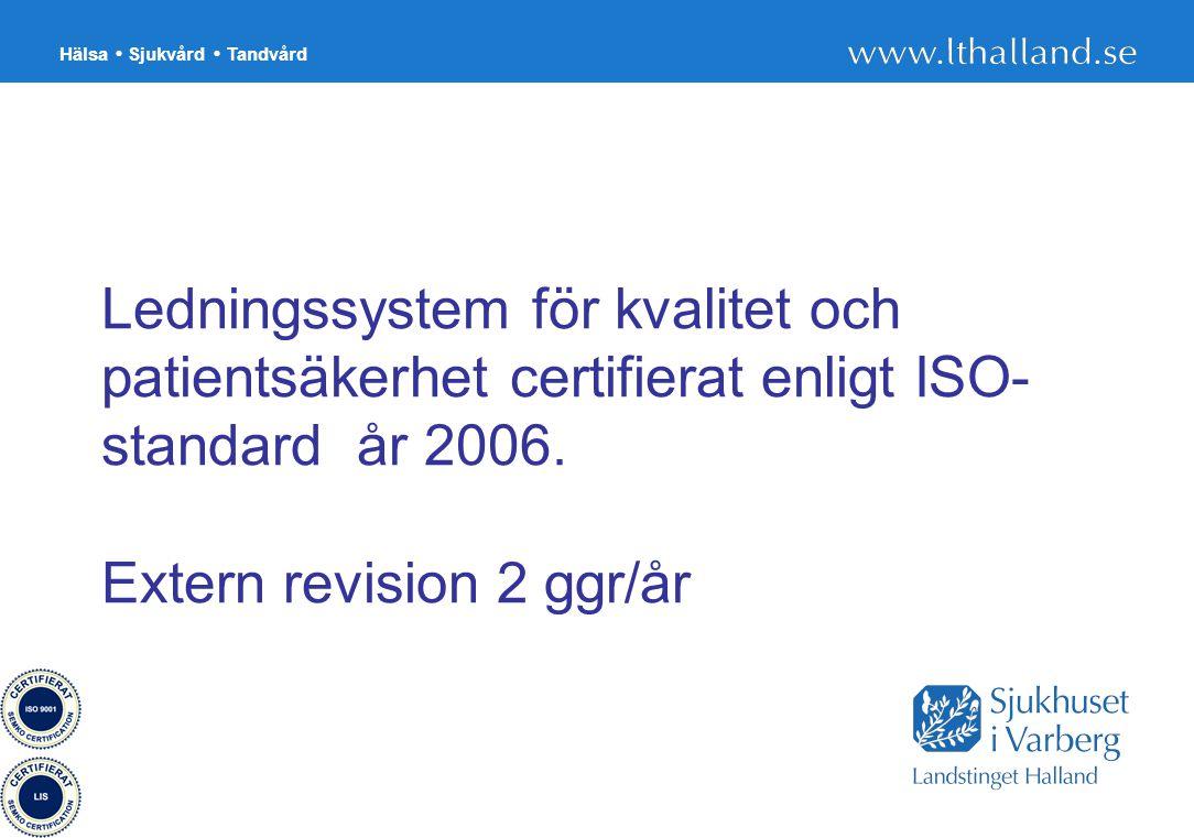 Ledningssystem för kvalitet och patientsäkerhet certifierat enligt ISO-standard år 2006.