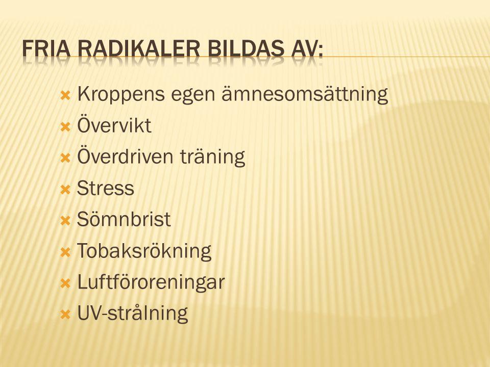 Fria radikaler bildas av: