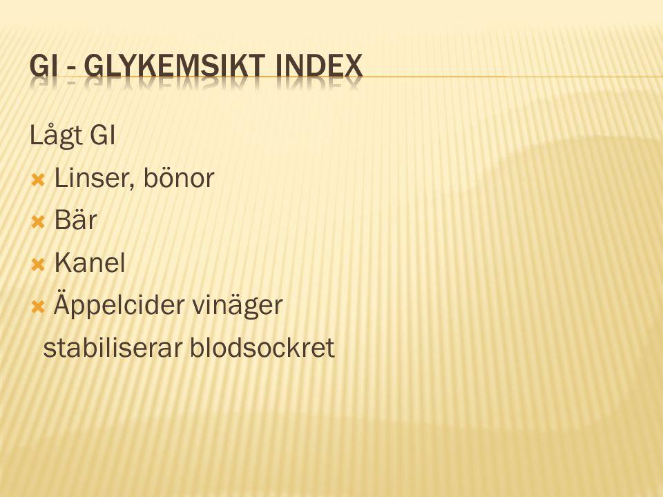 GI - glykemsikt index Lågt GI Linser, bönor Bär Kanel