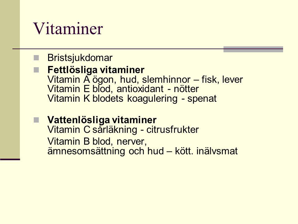 Vitaminer Bristsjukdomar