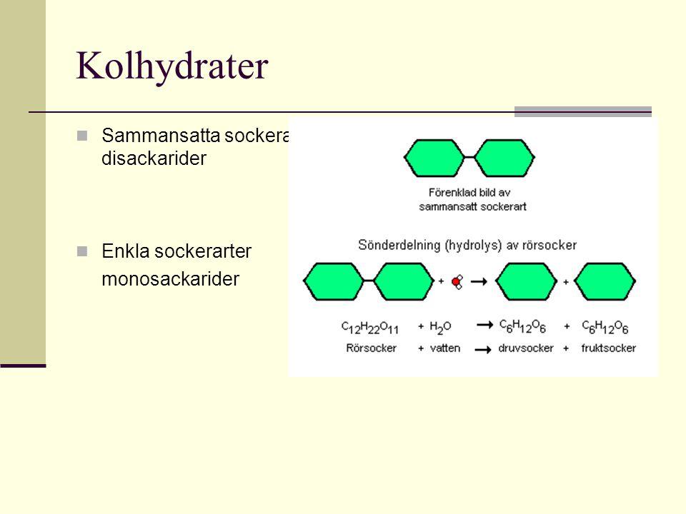 Kolhydrater Sammansatta sockerarter-disackarider Enkla sockerarter