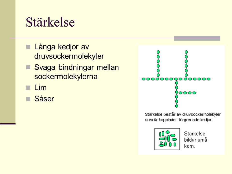 Stärkelse Långa kedjor av druvsockermolekyler