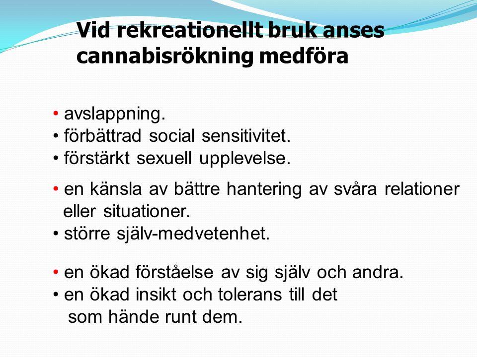 Vid rekreationellt bruk anses cannabisrökning medföra