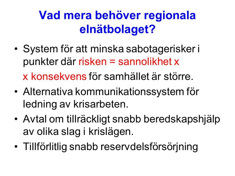 Vad mera behöver regionala elnätbolaget