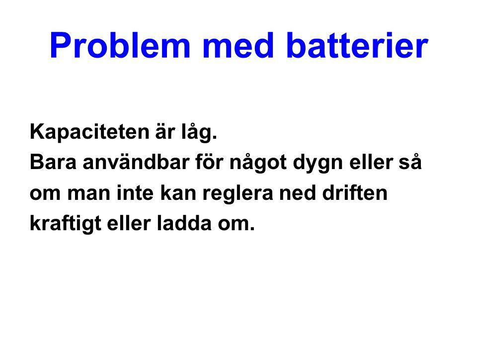 Problem med batterier Kapaciteten är låg.