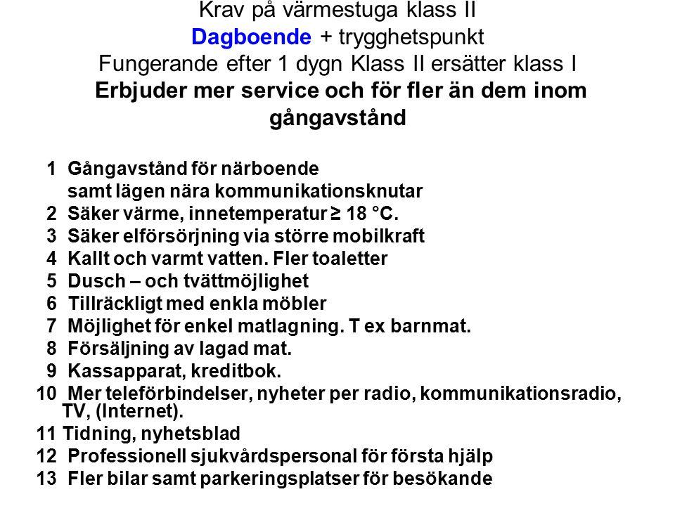 Krav på värmestuga klass II Dagboende + trygghetspunkt Fungerande efter 1 dygn Klass II ersätter klass I Erbjuder mer service och för fler än dem inom gångavstånd