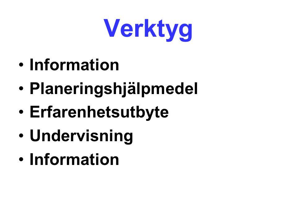 Verktyg Information Planeringshjälpmedel Erfarenhetsutbyte