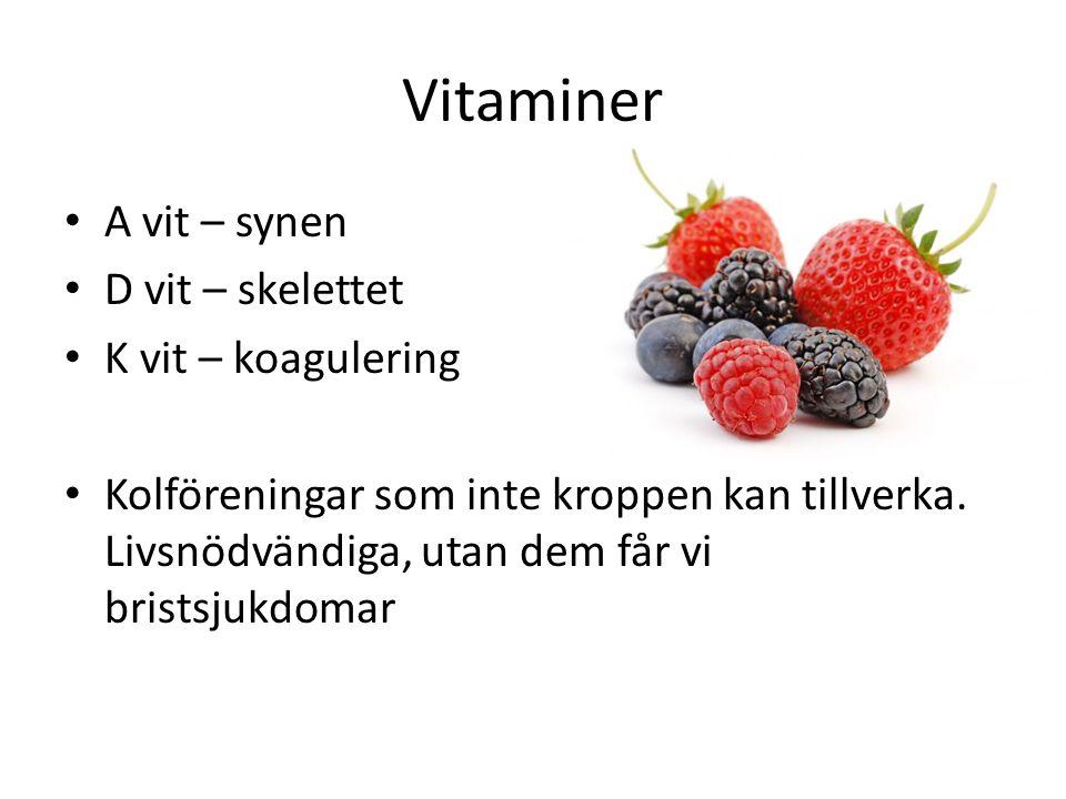 Vitaminer A vit – synen D vit – skelettet K vit – koagulering