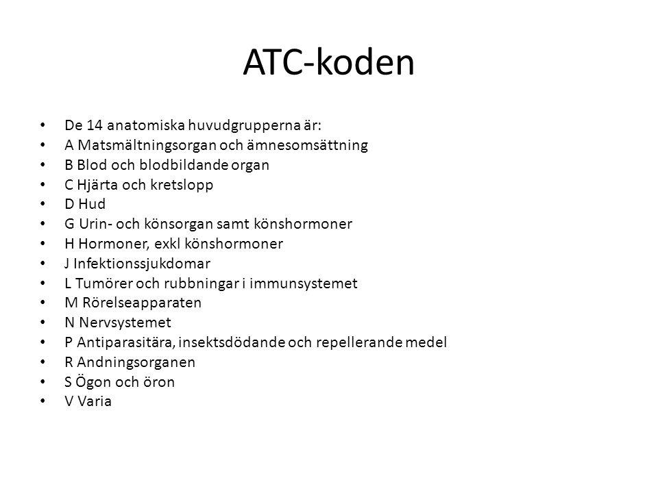 ATC-koden De 14 anatomiska huvudgrupperna är:
