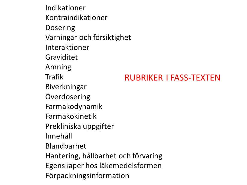 RUBRIKER I FASS-TEXTEN