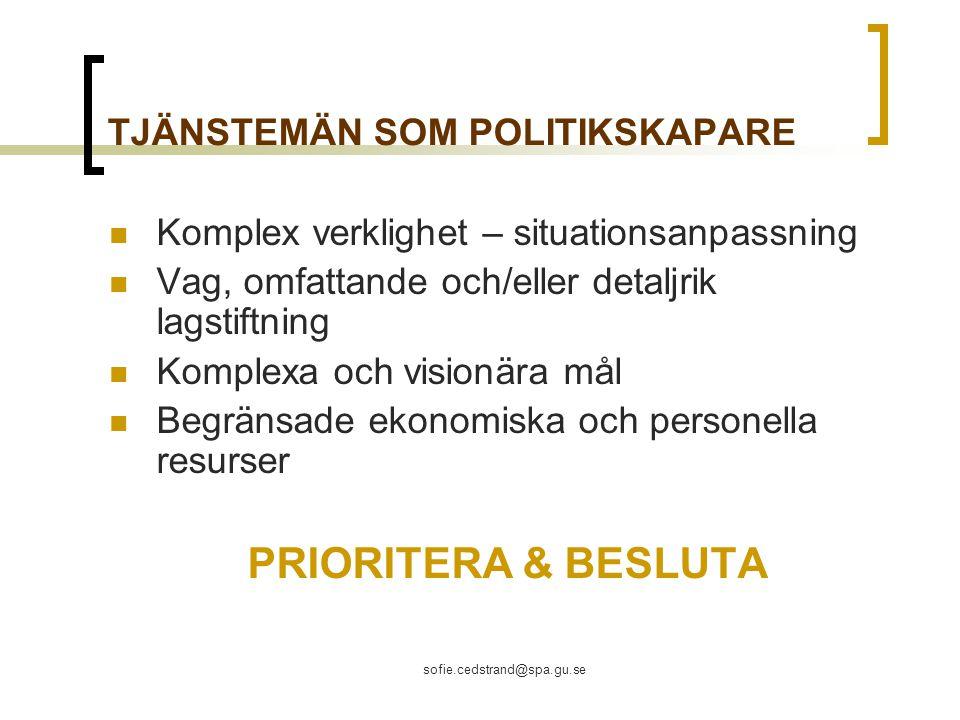 TJÄNSTEMÄN SOM POLITIKSKAPARE