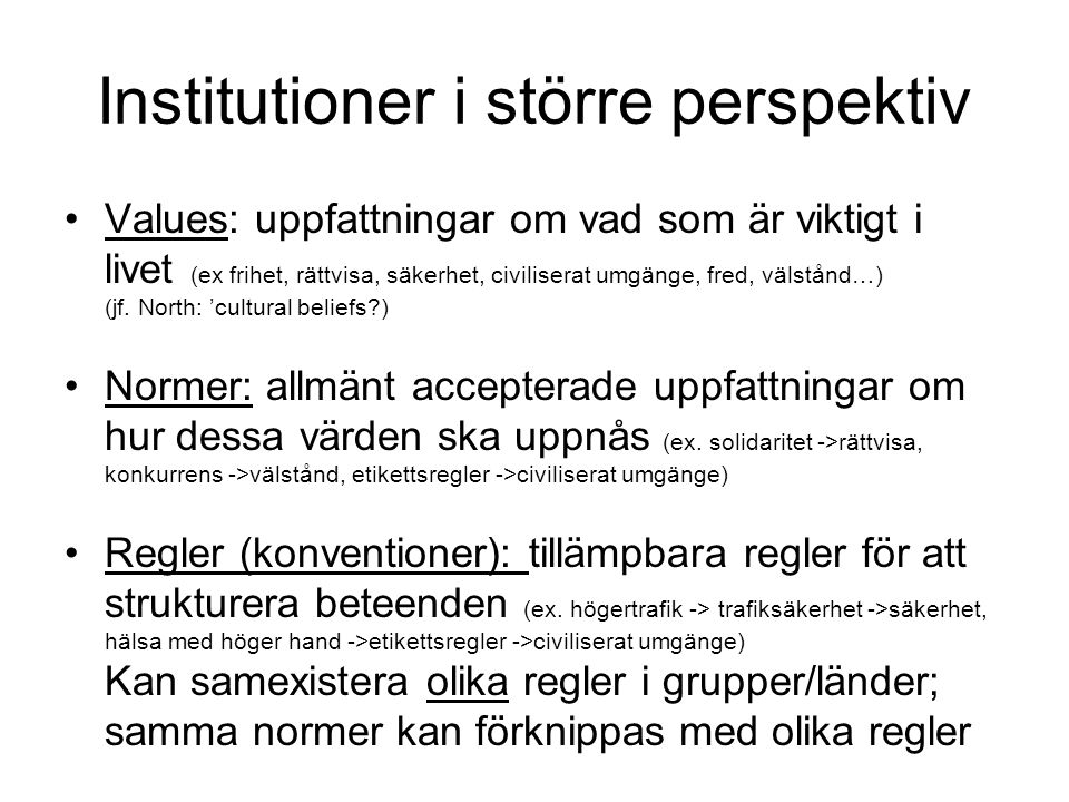 Institutioner i större perspektiv