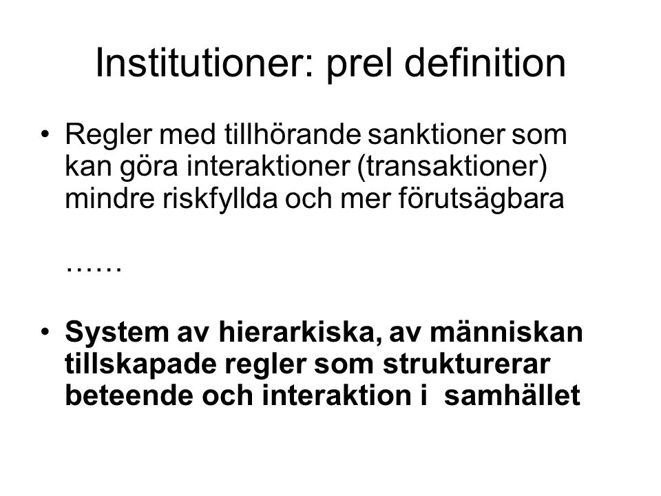 Institutioner: prel definition