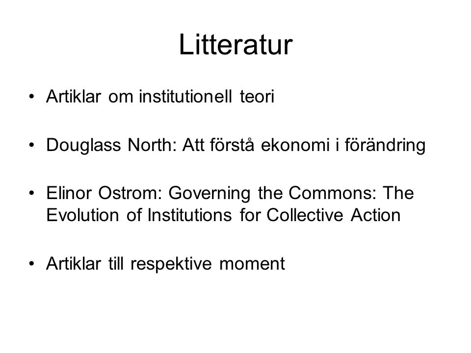 Litteratur Artiklar om institutionell teori