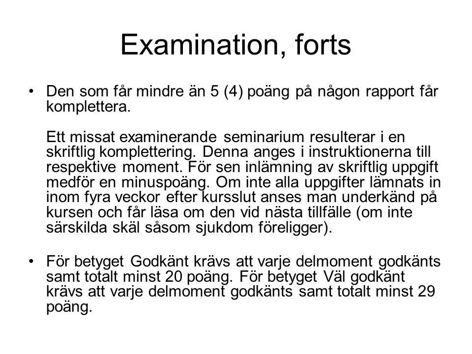 Examination, forts