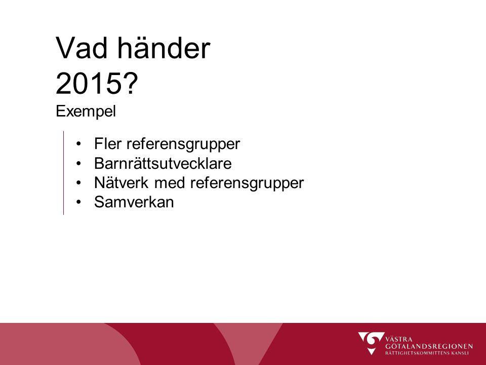 Vad händer 2015 Exempel Fler referensgrupper Barnrättsutvecklare