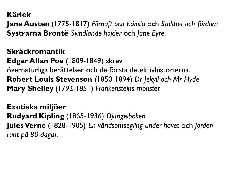 Kärlek Jane Austen (1775-1817) Förnuft och känsla och Stolthet och fördom. Systrarna Brontë Svindlande höjder och Jane Eyre.