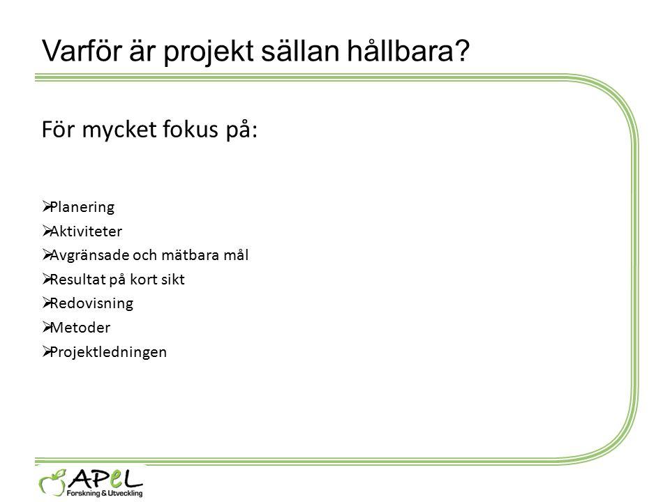 Varför är projekt sällan hållbara