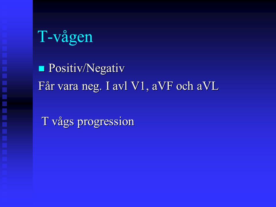 T-vågen Positiv/Negativ Får vara neg. I avl V1, aVF och aVL