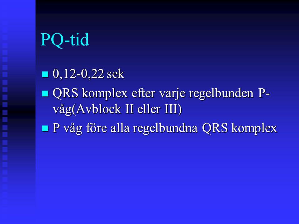 PQ-tid 0,12-0,22 sek.