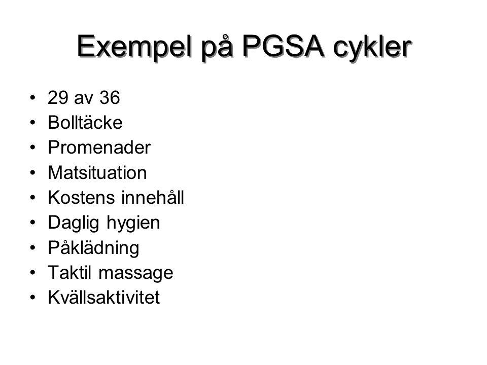 Exempel på PGSA cykler 29 av 36 Bolltäcke Promenader Matsituation