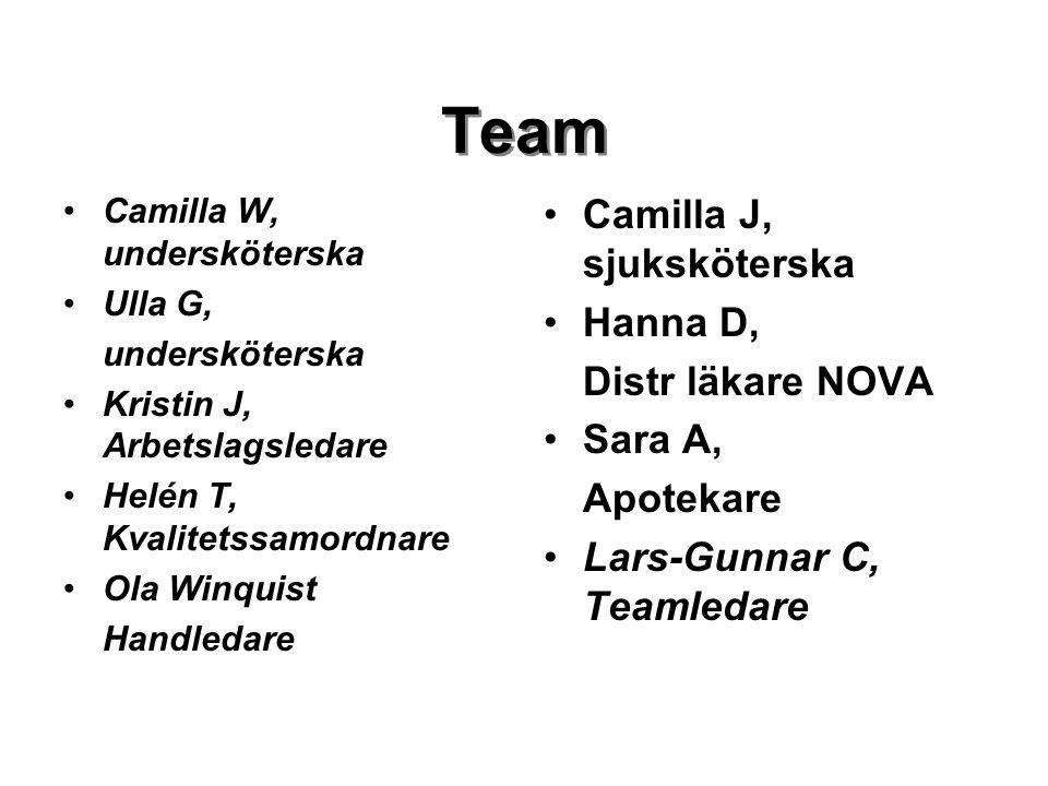 Team Camilla J, sjuksköterska Hanna D, Distr läkare NOVA Sara A,