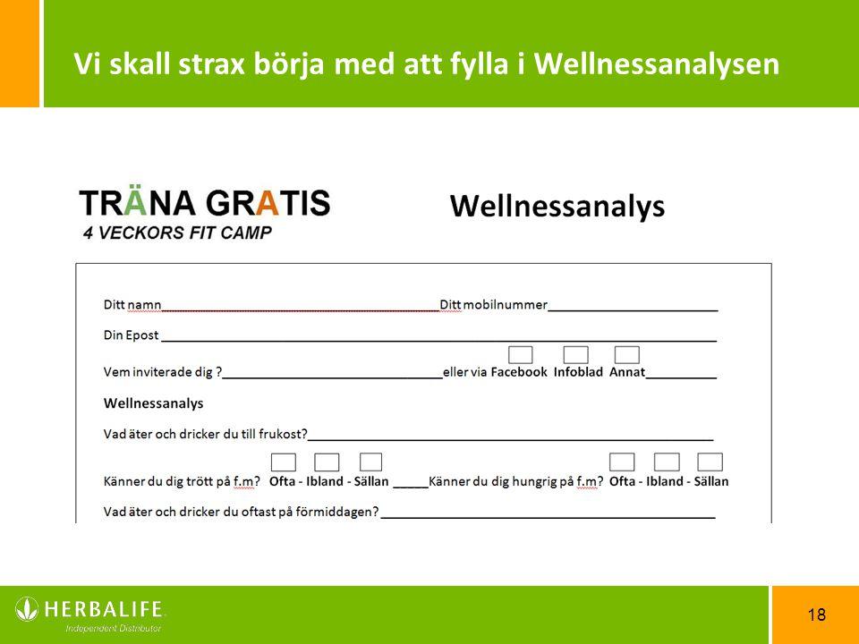 Vi skall strax börja med att fylla i Wellnessanalysen