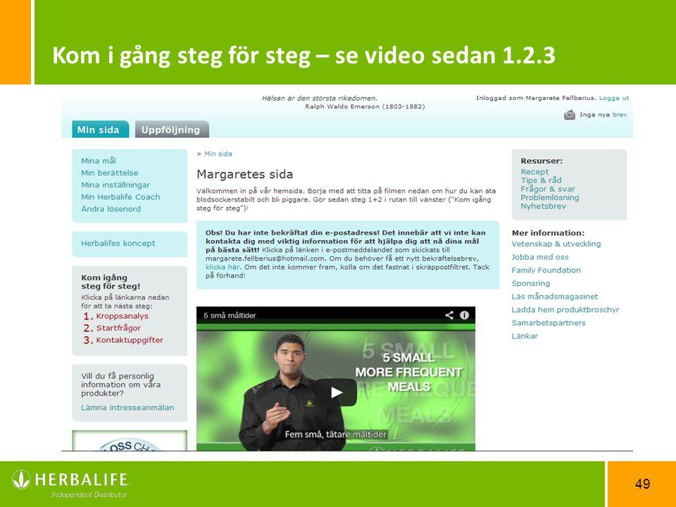 Kom i gång steg för steg – se video sedan 1.2.3