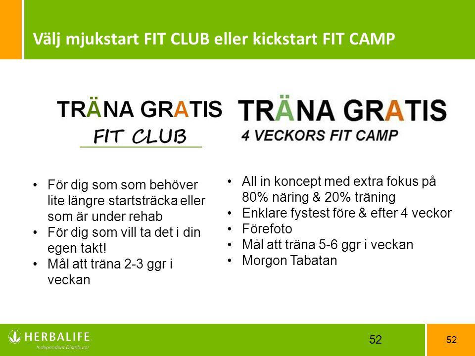 Välj mjukstart FIT CLUB eller kickstart FIT CAMP