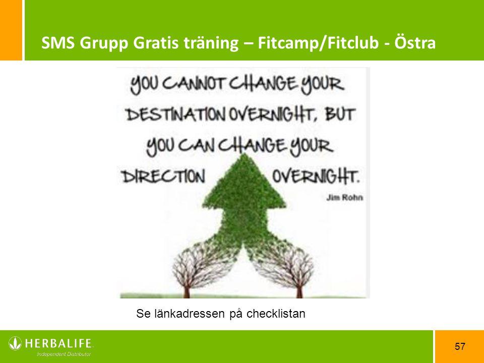 SMS Grupp Gratis träning – Fitcamp/Fitclub - Östra