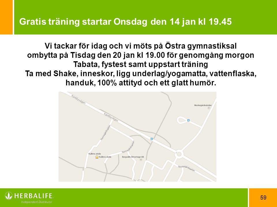 Gratis träning startar Onsdag den 14 jan kl 19.45