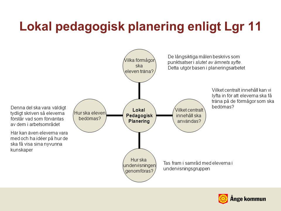 Lokal pedagogisk planering enligt Lgr 11