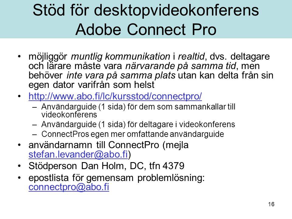 Stöd för desktopvideokonferens Adobe Connect Pro