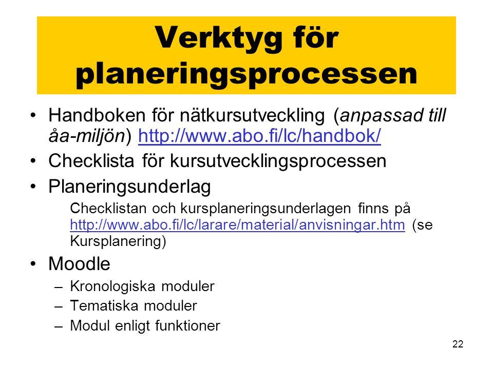 Verktyg för planeringsprocessen