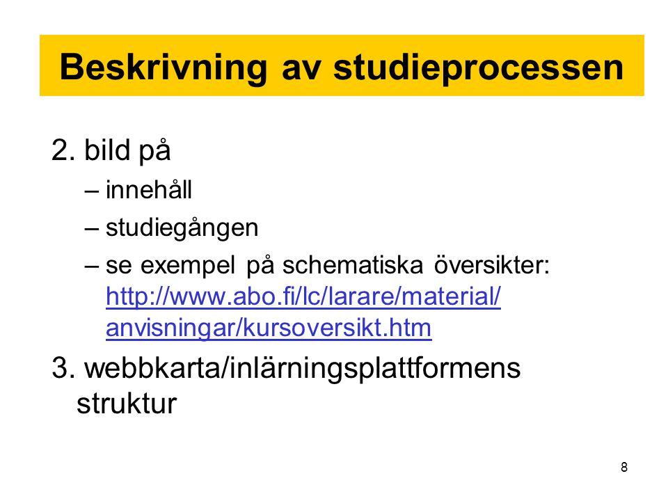 Beskrivning av studieprocessen