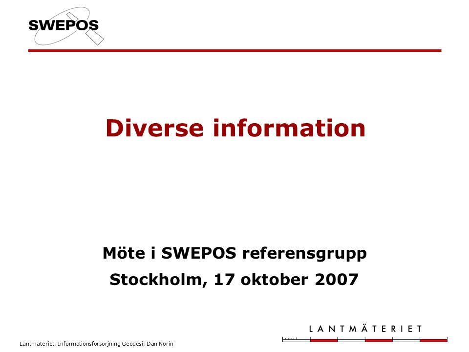 Möte i SWEPOS referensgrupp Stockholm, 17 oktober 2007