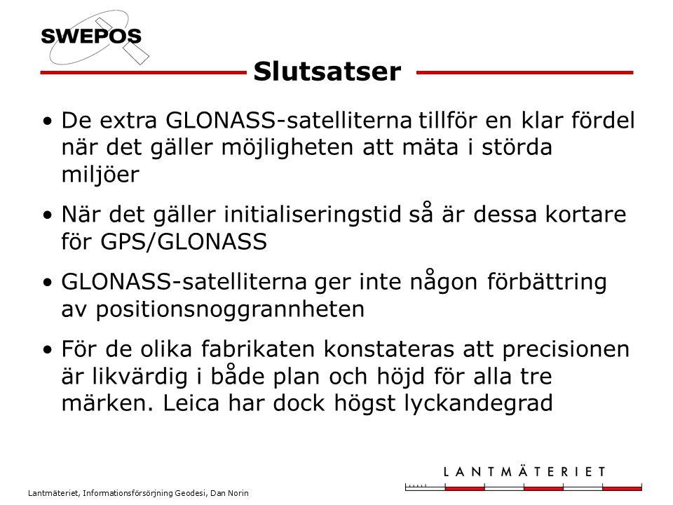 Slutsatser De extra GLONASS-satelliterna tillför en klar fördel när det gäller möjligheten att mäta i störda miljöer.
