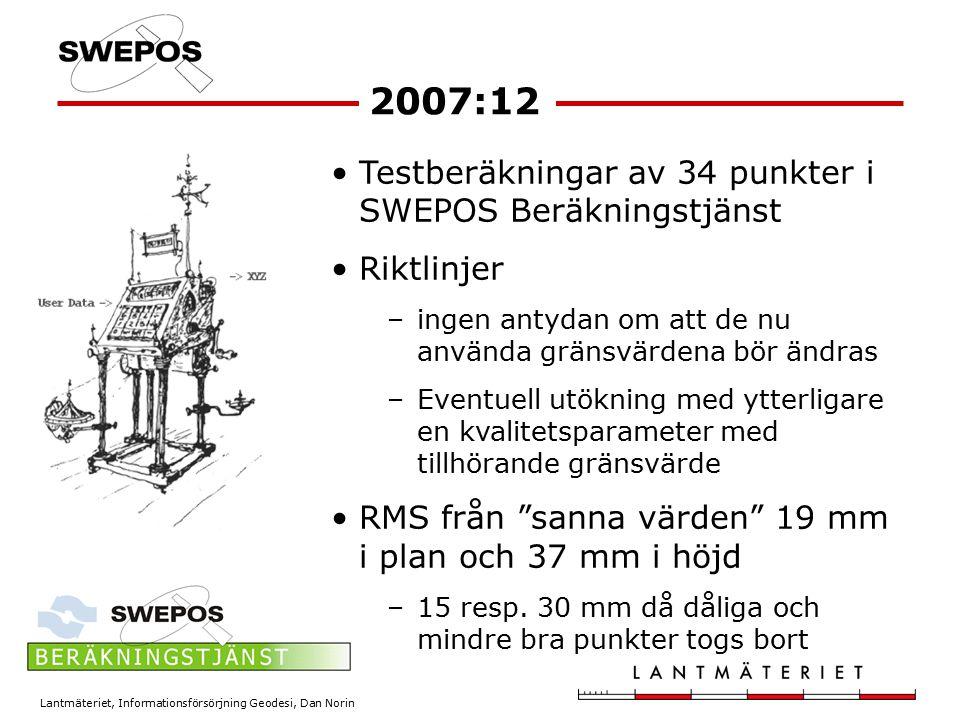 2007:12 Testberäkningar av 34 punkter i SWEPOS Beräkningstjänst