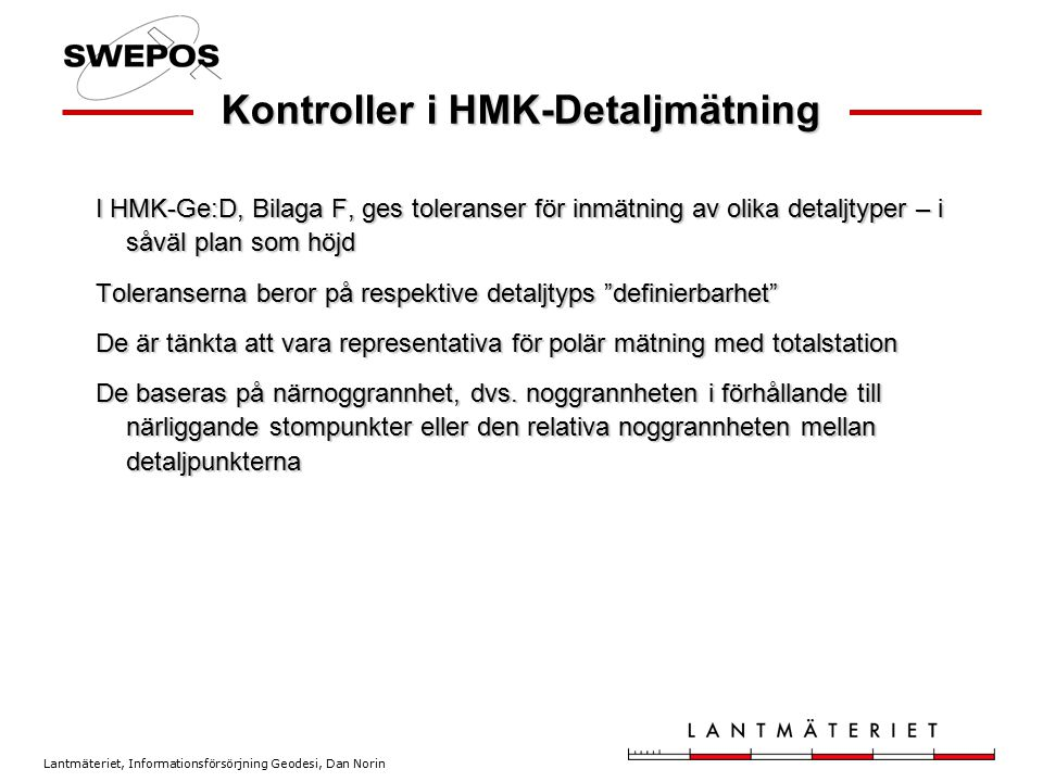 Kontroller i HMK-Detaljmätning